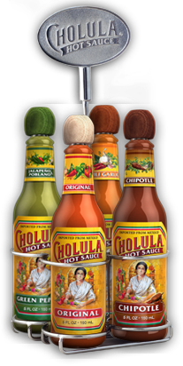 Original, Chipotle, Chili Garlic and Green Pepper Hot Sauce Variety Pack w/ Four Bottle Caddy