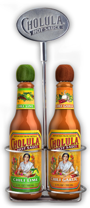 Chili Lime and Chili Garlic Hot Sauce Variety Pack w/ Two Bottle Caddy