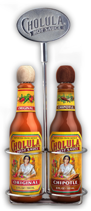 Original and Chipotle Hot Sauce Variety Pack w/ Two Bottle Caddy