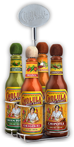 Original, Chipotle, Chili Garlic and Green Pepper Hot Sauce Variety Pack w/ Four Bottle Caddy - Buy Now
