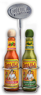 Original and Green Pepper Hot Sauce Variety Pack w/ Two Bottle Caddy [chs-vpogpc.jpg] - Click for More Information